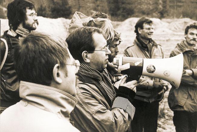 Edwin Massalsky mit Flüstertüte in den 80er Jahren