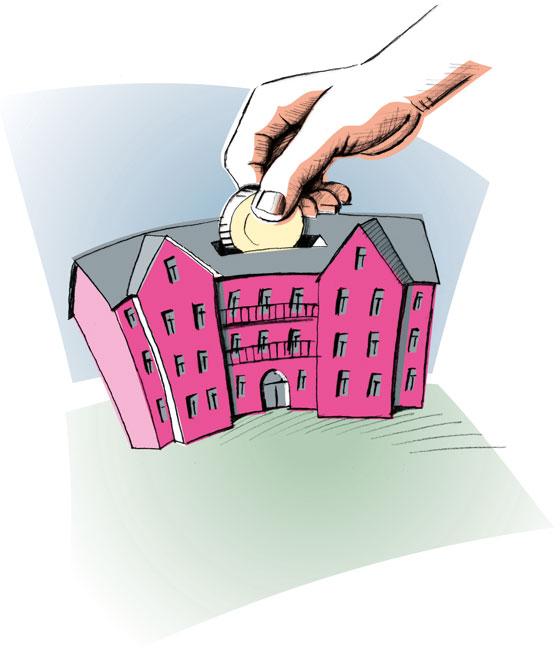 Illustration: Hand steckt Geldmünze in ein Haus mit Geldschlitz