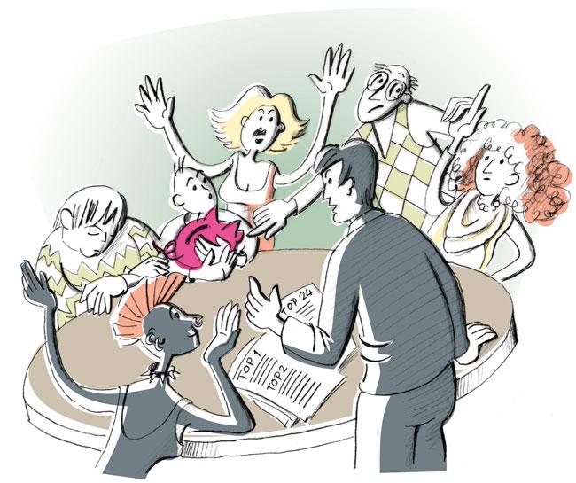 Illustration von Julia Gandras: Haben Sie die Bereitschaft für die bei einem Hausprojekt erforderlichen Diskussionen und Auseinandersetzungen?