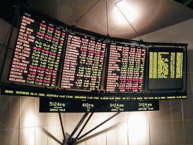 Anzeigetafel in der Deutschen Börse
