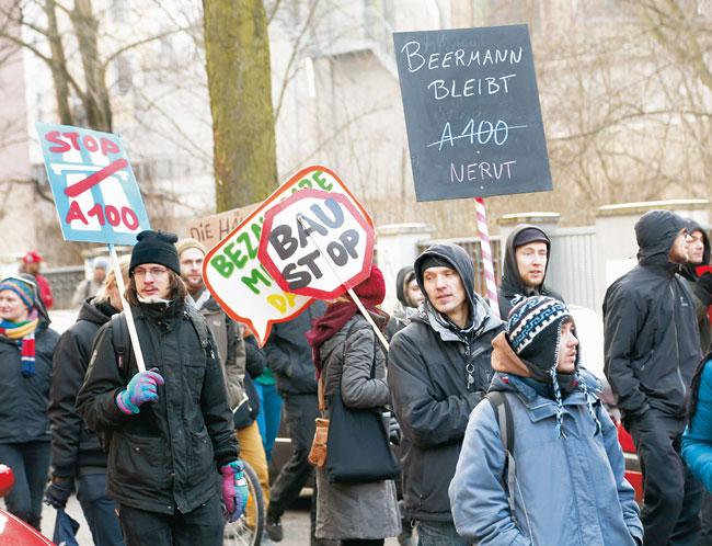 Protestmarsch gegen den Abriss der Häuser in der Beermannstraße