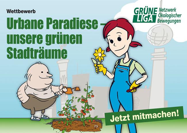 Einladung zur Aktion der Grünen Liga 'Urbane Paradiese – unsere grünen Stadträume'