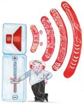 Illustration: Mann am 'Lärmregler'