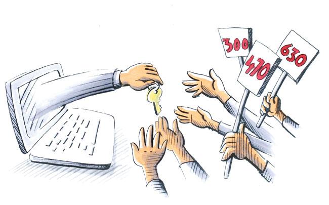 Illustration: Viele Hände greifen nach angebotenem Wohnungsschlüssel