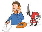 Illustration: Mieter velangt Auskünfte am Telefon
