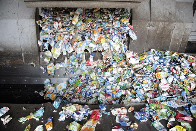 Verarbeitung von Recycling-Müll