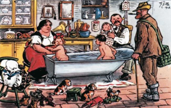 Zeichnung von Heinrich Zille: Badetag