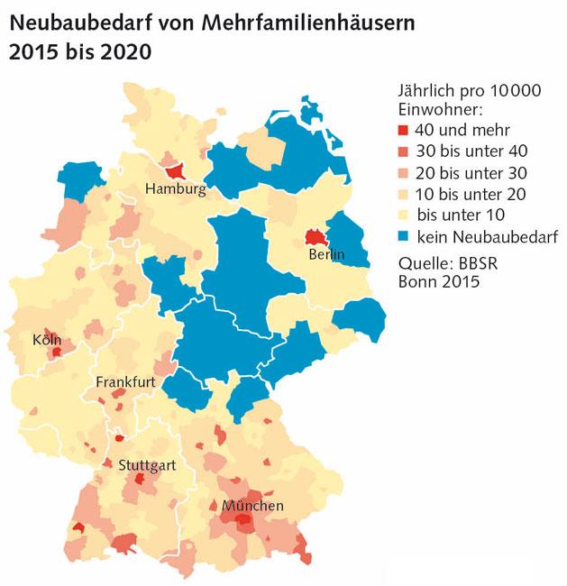 Grafik: Neubedarf von Mehrfamilienhäusern 2015 bis 2020
