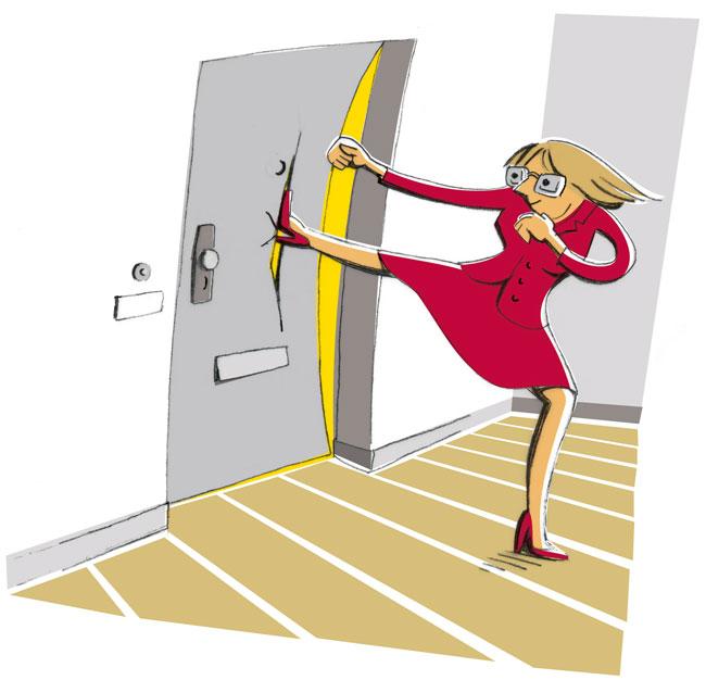 Illustration von Julia Gandras: Zutritt zur Wohnung
