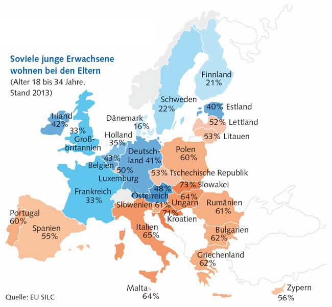 Karte: Soviel junge Ewachsene wohnen bei ihren Eltern