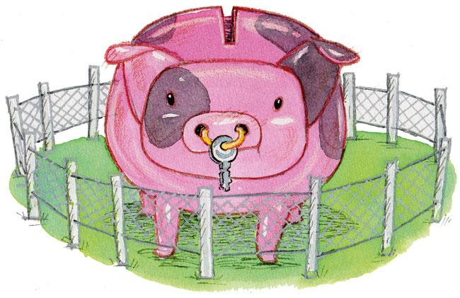Illustration von Lisa Smith: Sparschwein in sicherer Umzäunung