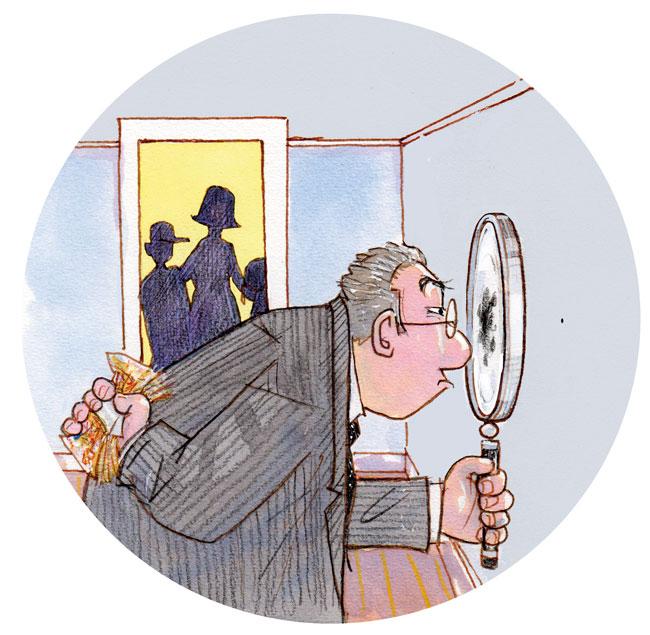 Illustration von Lisa Smith: Vermieter mit Lupe sucht Mängel