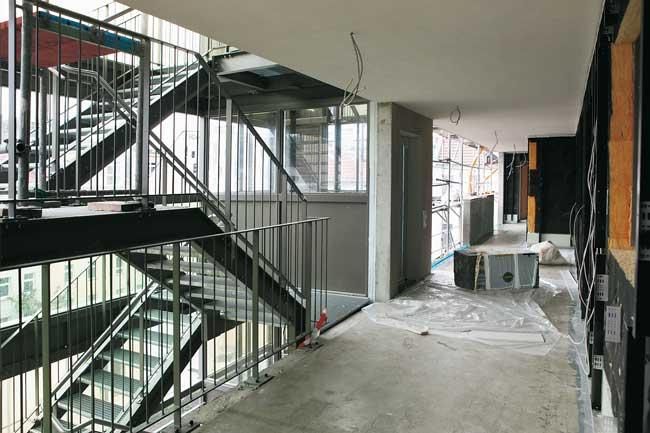 Treppenhaus im Bau in der Friedrichshainer Gärtnerstraße 8/9