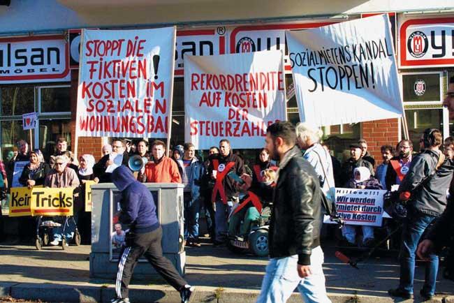 Protest gegen exorbitante Sozialmieten in der Weddinger Koloniestraße