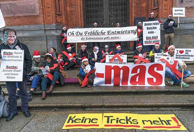 Weihnachtlicher Protest gegen Entmietung