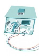 Grafik: Kabel für TV-Programm, Telefon und Internet winden sich in ein Haus