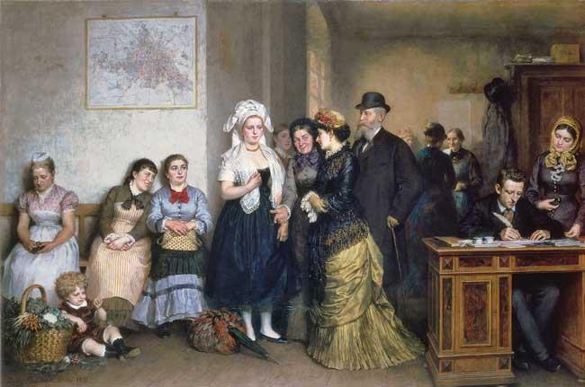 Arbeitssuchende um 1880, Gemälde von Fritz Paulsen