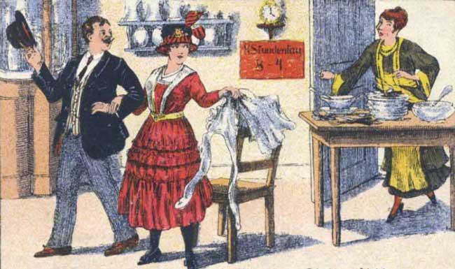 Haushalt mit Dienstmädchen im 19. Jahrhundert