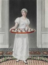 Dienstmädchen mit Tablett