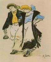 Dienstmädchen beim Ausgang, Illustration von Heinrich Zille