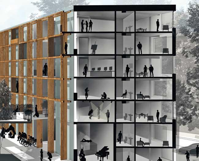 Lynarstraße: Werkstätten, Ateliers und Wohnungen in Holzregalkonstruktion