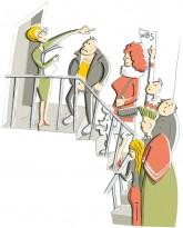 Illustration: Schlange von Wohnungssuchenden