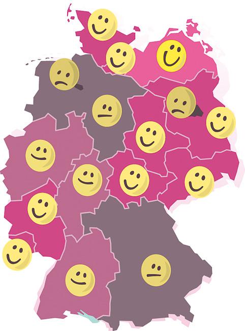 Deutschlandkarte mit unterschiedlich 'glücklichen' Smileys
