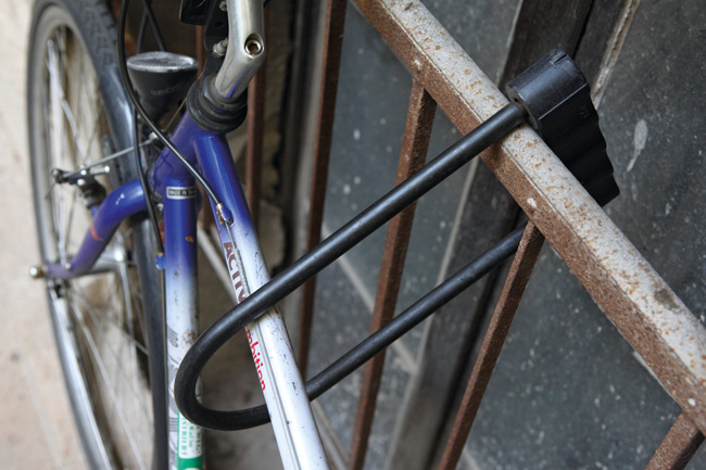 Fahrradsicherung mit Bügelschloss