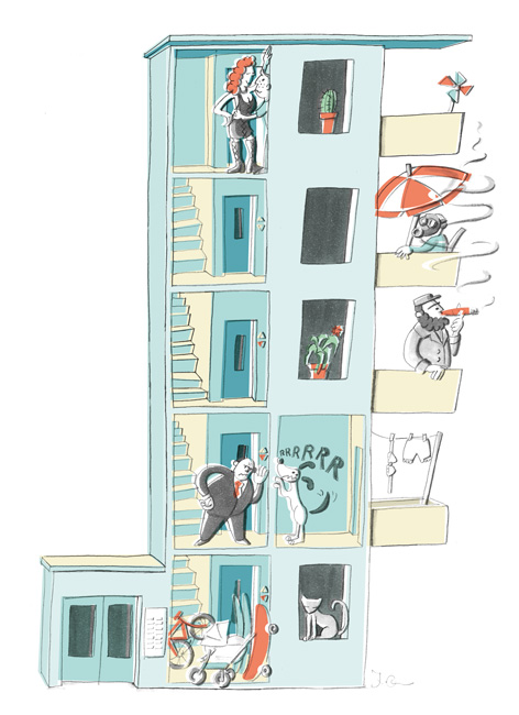 Illustration zur Balkon- und Treppenhausnutzung
