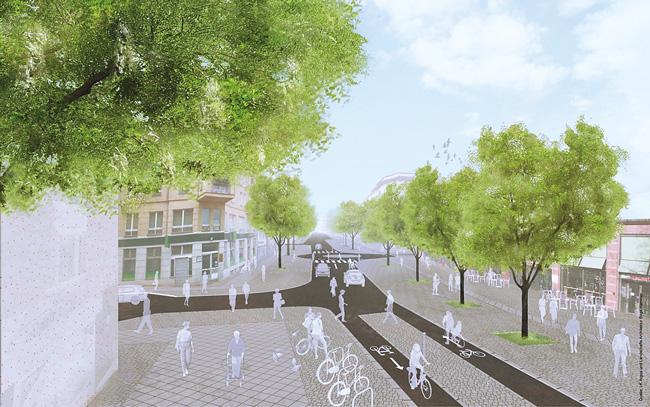 Visualisierung der Begegnungszone in der Bergmannstraße
