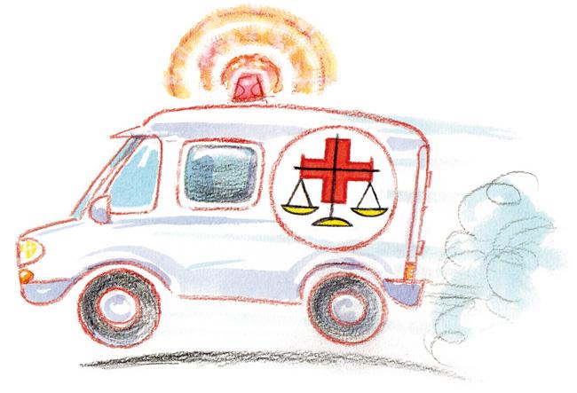 Illustration: eiliger Krankenwagen mit Justiz-Waage-Symbol