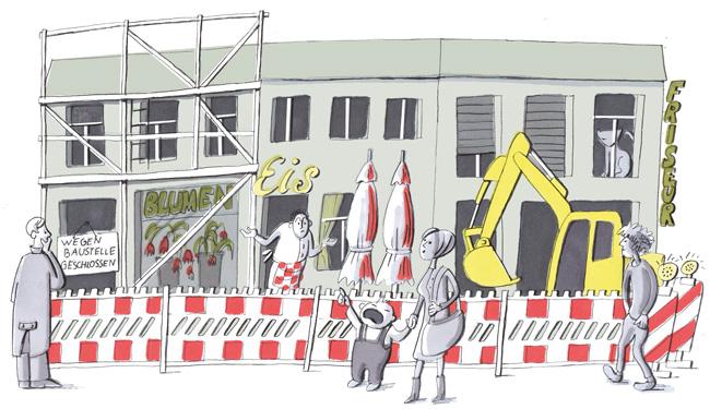 Illustration: Baustelle vor dem Laden