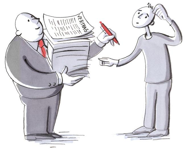 Illustration : Vermieter mit umfangreichem Vertragspaket