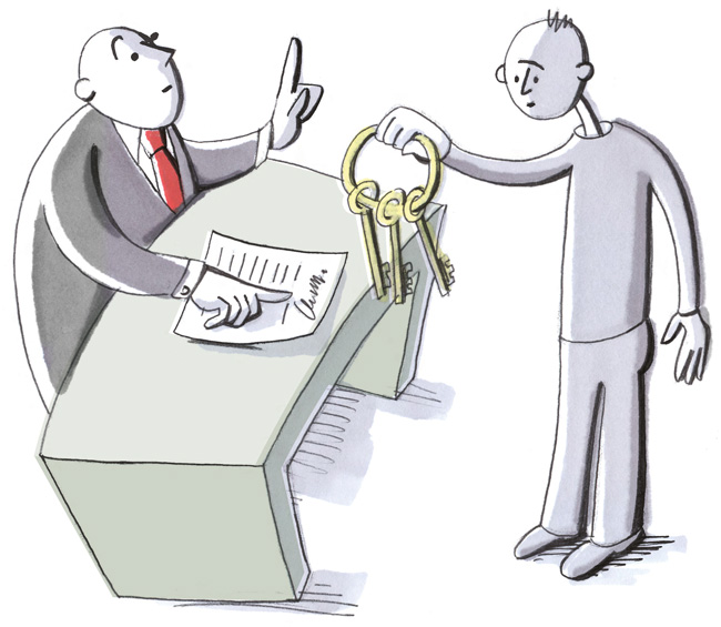 Illustration: Schlüsselrückgabe bei Vertragsende