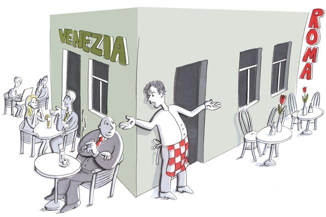 Illustration: Konkurrenzunternehmen im gleichen Haus