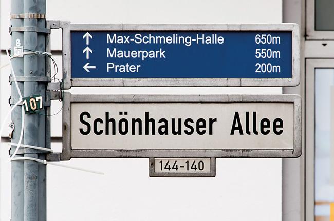 Straßenschild 'Schönhauser Allee'