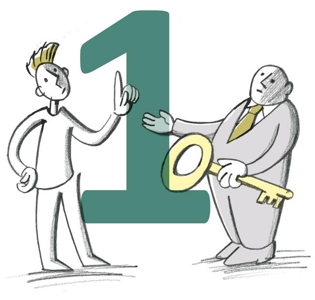 Illustration: Vermieter übergibt Schlüssel und verlangt Pfand