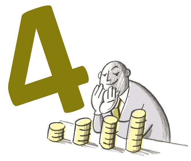 Illustration: Zufriedener Vermieter vor ansteigenden Geldstapeln