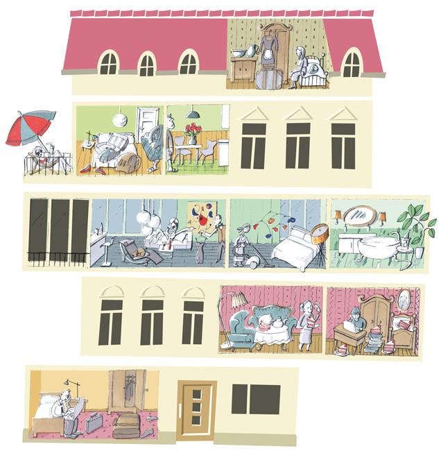 Illustration: Querschnitt durchs Haus