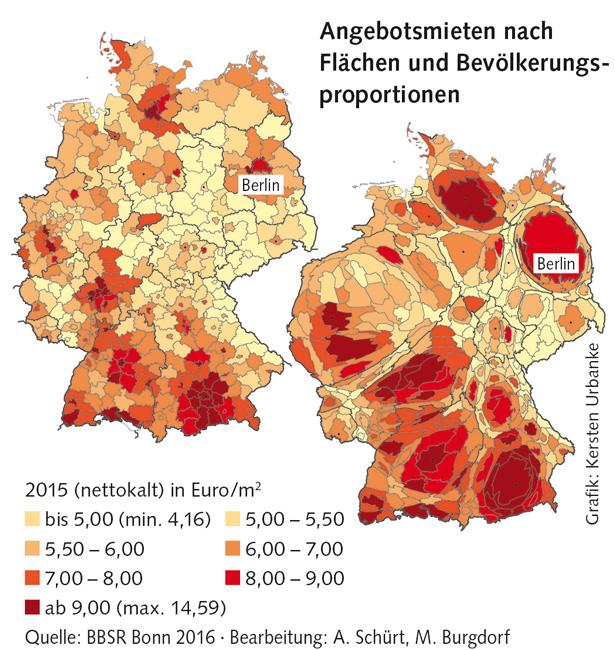 Grafik: Angebotsmieten nach Flächen- und Bevölkerungsproportionen