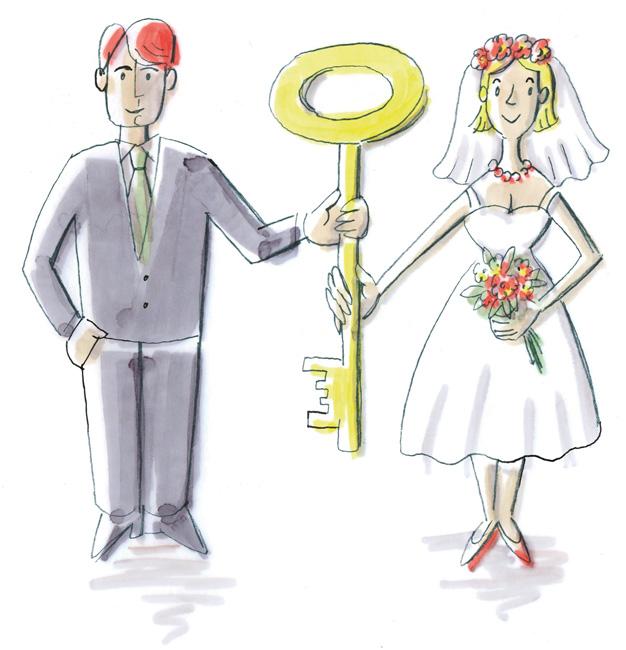 Illustration: Ehepaar mit gemeinsamem Schlüssel