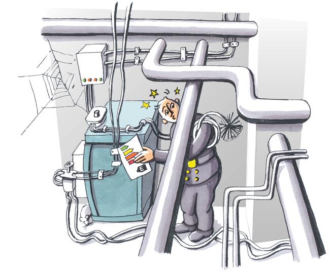 Illustration: Schornsteinfeger überprüft Heizungsanlage