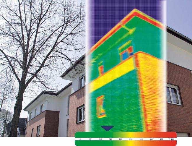 Wärmebild eines Gebäudeteils