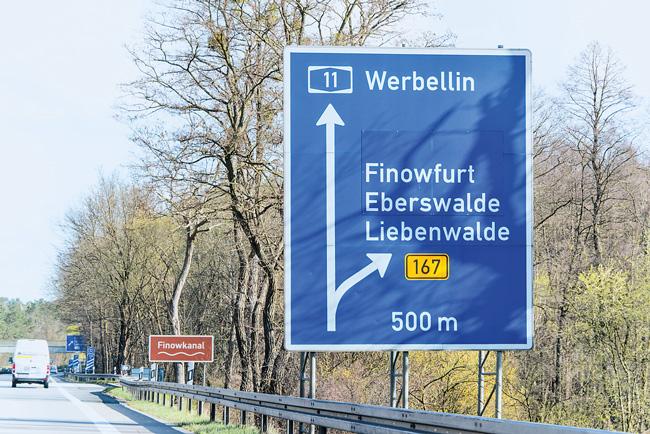 Autobahnschild, Abfahrt Finowfurt