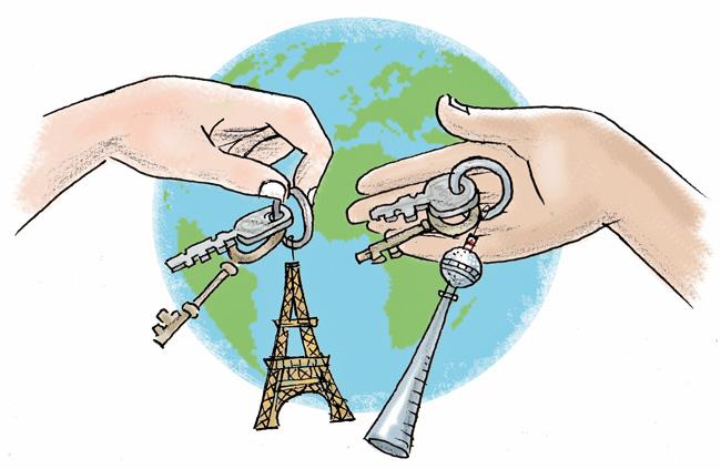 Illustration: Schlüsselanhänger Eiffel- und Fernsehturm