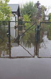 Überflutete Grundstücke in Tegel (26. Juli 2017)