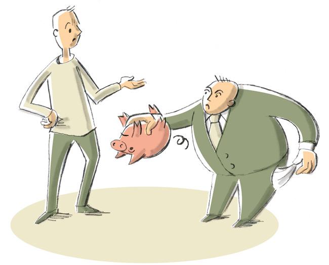 Vermieter mit leerem Sparschwein