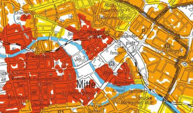 Ausschnitt aus der Wohnlagenkarte zum Mietspiegel