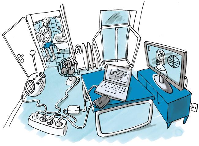 Illustration: Hoher Verbrauch von Strom, Wasser und Heizung