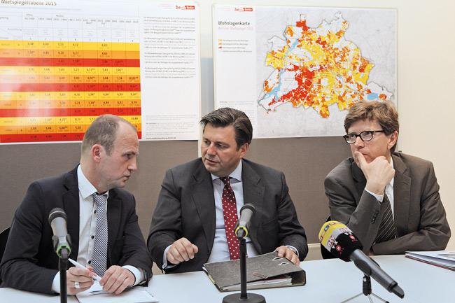Der damalige Berliner Stadtentwicklungssenator Andreas Geisel bei der Vorstellung des Mietspiegels 2015